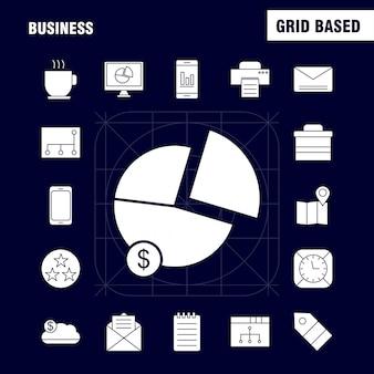 Geschäfts-feste glyphe-ikonen eingestellt für infografiken