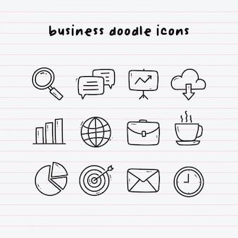 Geschäfts-gekritzel-ikonen auf paperline