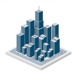 Geschäfts isometrische stadt mit vielen häusern, büros