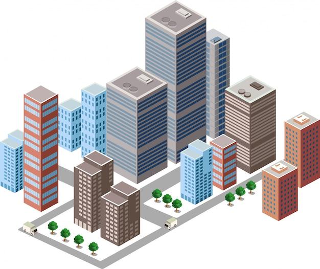 Geschäfts isometrische stadt mit vielen verschiedenen häusern