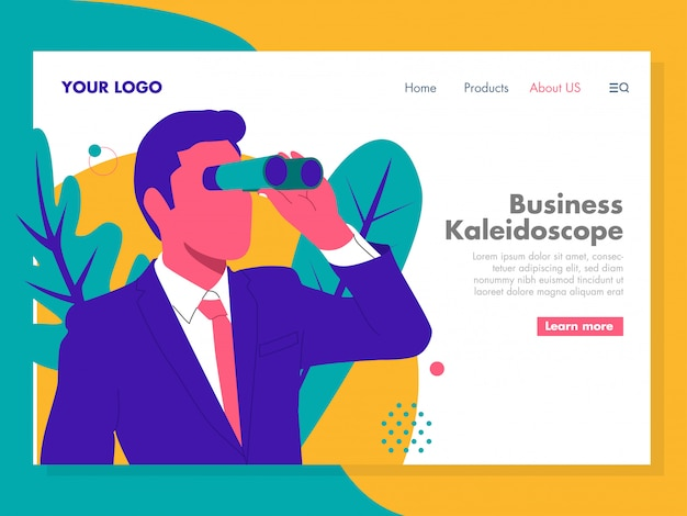 Geschäfts-kaleidoskop-illustration für zielseite