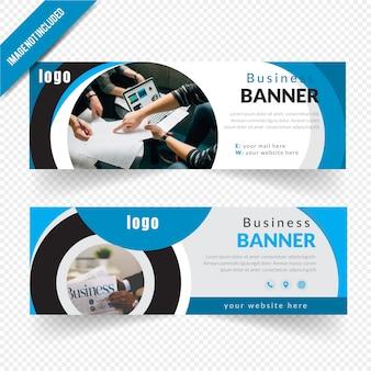 Geschäfts-kreis-blaues fahnen-design
