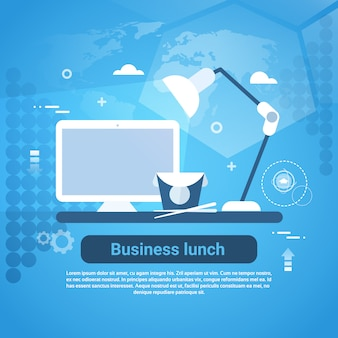 Geschäfts-mittagspause-konzept-web-fahne mit kopienraum