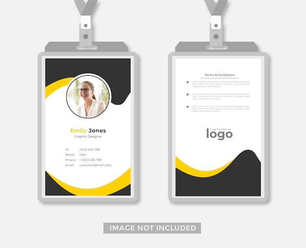 Geschäfts- oder büro-id-kartendesign abstrakter stilvektor
