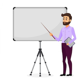 Geschäfts präsentation. erfolgreicher geschäftsmanncharakter, der darstellung macht. kaufmännische ausbildung. flache illustration der vektorkarikatur.