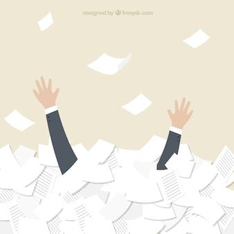 Geschäfts schwimmen in dokumenten