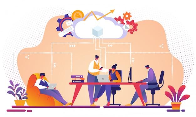 Geschäfts-team, das zusammen cloud-service zusammenarbeitet