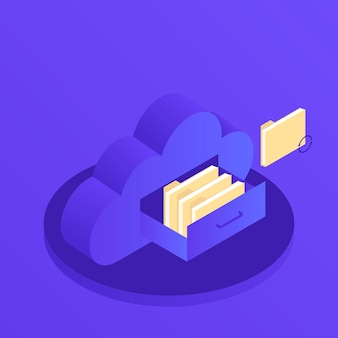 Geschäfts-technologieserver des wolkendatenspeichers flacher isometrischer 3d. dokumentenschublade im wolkenförmigen schrank. moderne isometrische darstellung