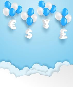 Geschäfts- und finanzkonzept. gruppe des währungszeichens, das mit ballon auf blauem himmel hängt. vektor. illustration.