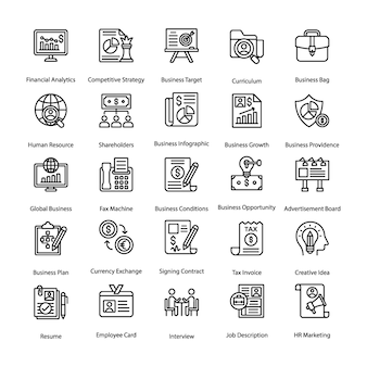 Geschäfts-und hr-linie ikonen eingestellt
