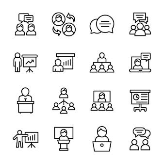 Geschäfts- und kommunikationslinie icons pack