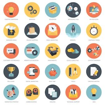 Geschäfts- und technologie-icon-set