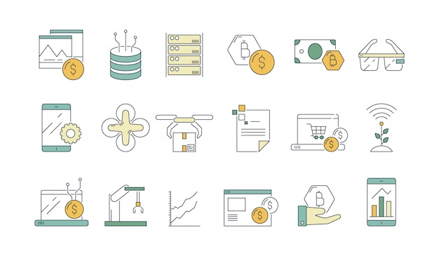 Geschäfts- und technologie-symbol. high-teche moderne softwareindustrie und neue wirklichkeitsgläser des technikkopfhörers umreißen symbole