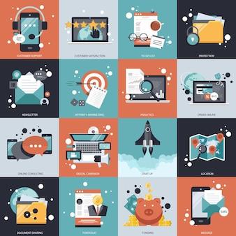Geschäfts- und technologievektorsatz