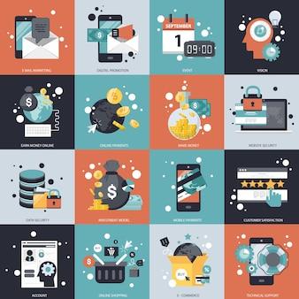 Geschäfts- und technologievektorsatz Premium Vektoren