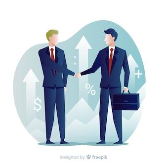 Geschäftsabkommenkonzept. charakterdesign beim händeschütteln.