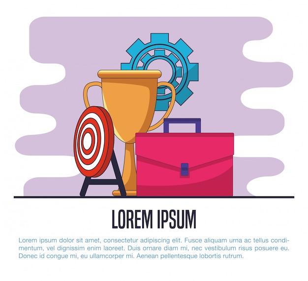 Geschäftsaktenkoffer mit trophäencup- und dartboardzielvektor-illustrationsgrafikdesign