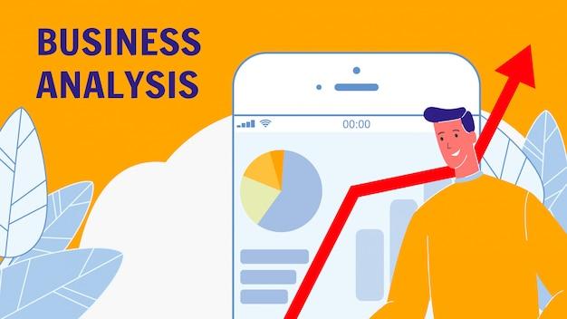 Geschäftsanalyse-flache vektor-fahne mit text