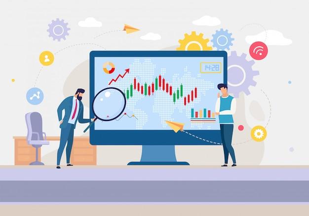 Geschäftsanalyse-team, das börse analysiert