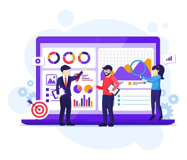 Geschäftsanalysekonzept, leute arbeiten vor einem großen laptop, prüfung, finanzberatung flache vektorillustration