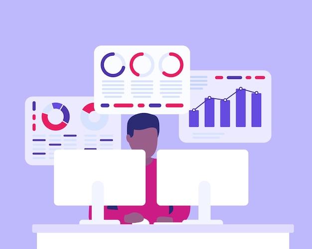 Geschäftsanalyst, mann, der mit geschäftsdaten arbeitet