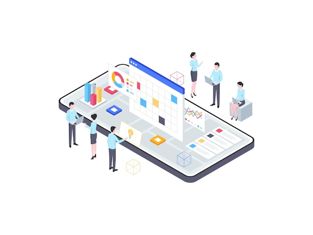 Geschäftsanalytische isometrische illustration. geeignet für mobile apps, websites, banner, diagramme, infografiken und andere grafische elemente.