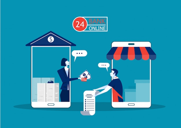 Geschäftsangebotdarlehen durch bankgebäude smartphone zahlen online zum geschäftsinhaber für investition