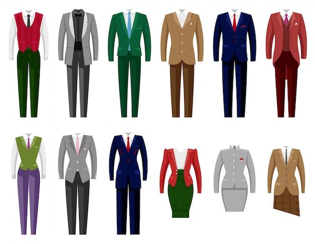 Geschäftsanzugpost oder weibliche firmenkleidung des geschäftsmanns oder der geschäftsfrauillustrationssatzes der kleiderordnung des managers oder der arbeiterkleidung im büro auf weißem hintergrund