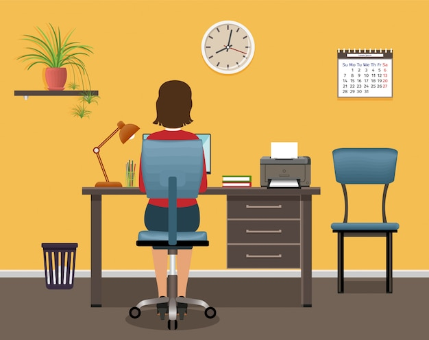 Geschäftsarbeitercharakter im büroinnenraum. büroangestellter der frau, die am arbeitsplatz am tisch mit laptop sitzt.