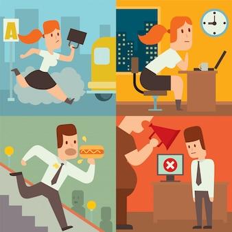 Geschäftsarbeitszeitverzögerungs-verzögerungsvektor illusutration