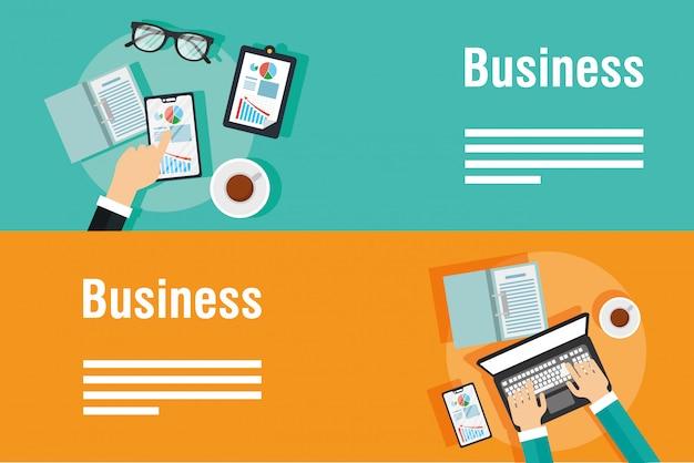 Geschäftsbanner mit laptop und ikonen