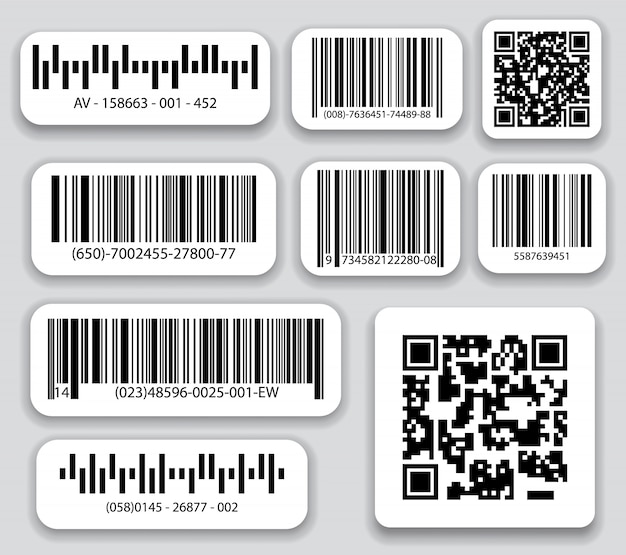 Geschäftsbarcodes und qr-code-vektorsatz. schwarzer gestreifter code für digitale identifikation, realistischer strichcode.