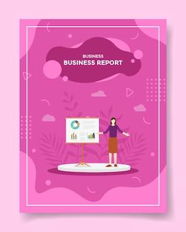 Geschäftsbericht frauen präsentierten datenstatistikdiagramm an bord für vorlage des flyers