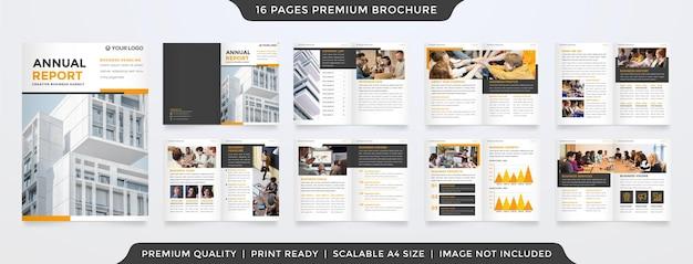 Geschäftsberichtvorlage mit klarem stil und minimalistischem konzept