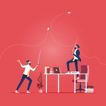 Geschäftsberufskonzept - zwei geschäftsleute, die schwerter halten und ein duell beginnen, leute auf geschäftswettbewerb