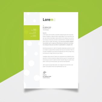 Geschäftsbriefkopf mit grünem akzent
