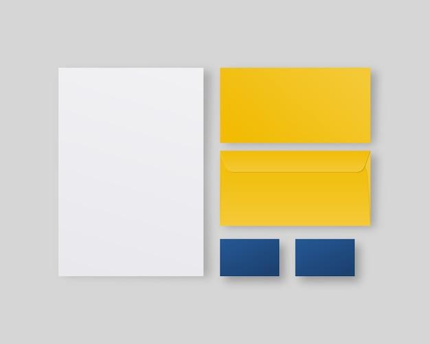 Geschäftsbriefpapier mit papier, visitenkarten, umschlägen. corporate identity template set. . vorlage . realistische illustration.