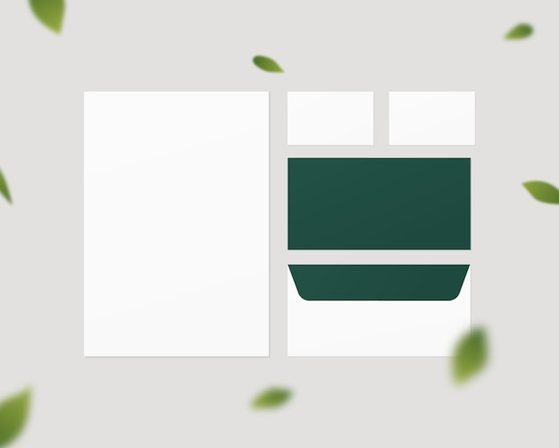 Geschäftsbriefpapiermodell. corporate identity template set. papier, umschlag, visitenkarten. isoliert. vorlagenentwurf. realistische illustration.