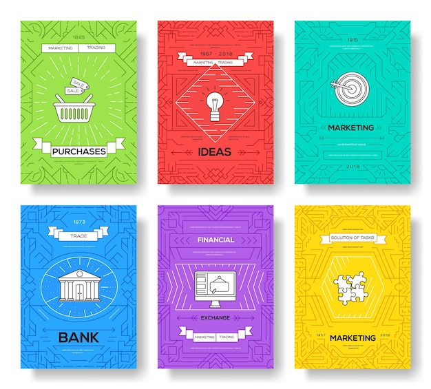 Geschäftsbroschüre karten dünne linie gesetzt. marketing-vorlage von flyear, zeitschriften, plakaten, buchumschlag, banner. layout umriss illustrationen modern