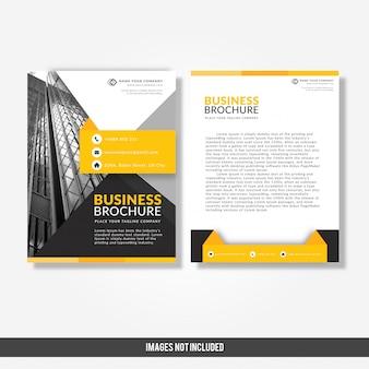 Geschäftsbroschürenschablone mit gelbem und schwarzem