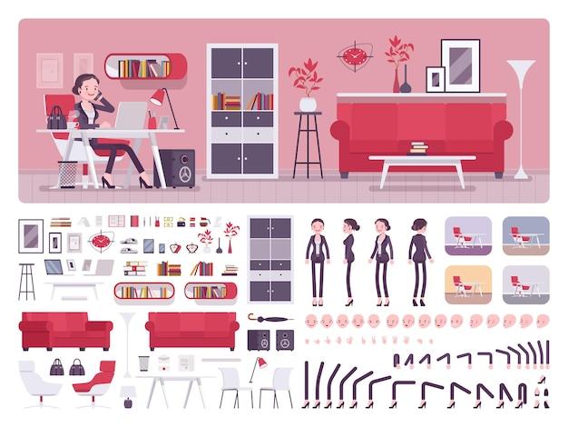 Geschäftsbüro-erstellungskit des weiblichen managers Premium Vektoren