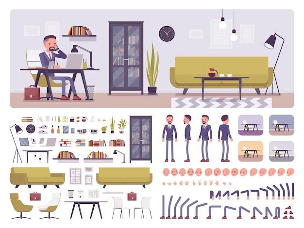 Geschäftsbüro-erstellungssatz des männlichen managers
