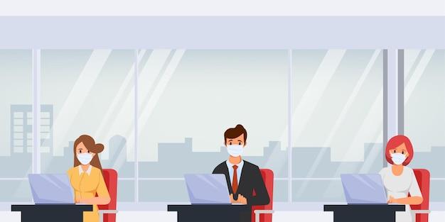 Geschäftsbüro-leute pflegen einen sozial distanzierten büroraum. stoppen sie covid19 coronavirus