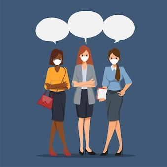 Geschäftsbürofrauen, die gesichtsmaske im neuen normalen lebensstil tragen. teamwork brainstroming charakter.