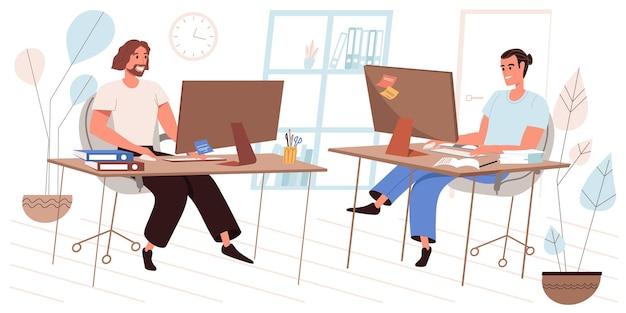Geschäftsbürokonzept im flachen design. mitarbeiter, die an computern arbeiten, sitzen an arbeitsplätzen, kollegen arbeiten zusammen, teamarbeit. kollegen kommunizieren in der büromenschenszene. vektor-illustration