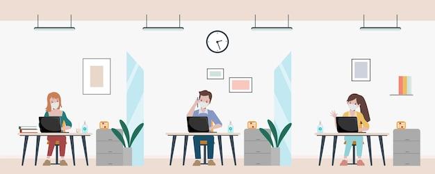 Geschäftsbüromitarbeiter halten den besprechungsraum mit sozialer distanzierung aufrecht. stoppen sie das covid19-coronavirus