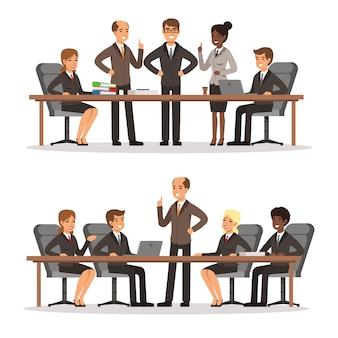 Geschäftscharakter am tisch im konferenzsaal. mann und frau in reichem kostüm. vektor illustrati