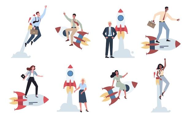 Geschäftscharakter, der nahe einem raketensatz reitend steht. startkonzept. geschäftsentwicklung. test- und marketingidee. kreatives denken.