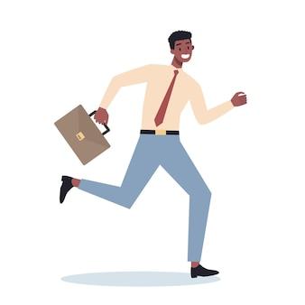 Geschäftscharakter mit laufender aktentasche. geschäftsmann, der in eile eilt. glücklicher und erfolgreicher mitarbeiter im anzug.