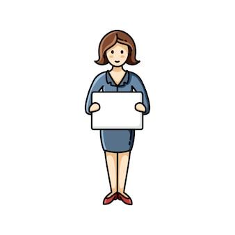 Geschäftsdame, die ein weißes blatt papier hält. infographik element. vektorcharakter